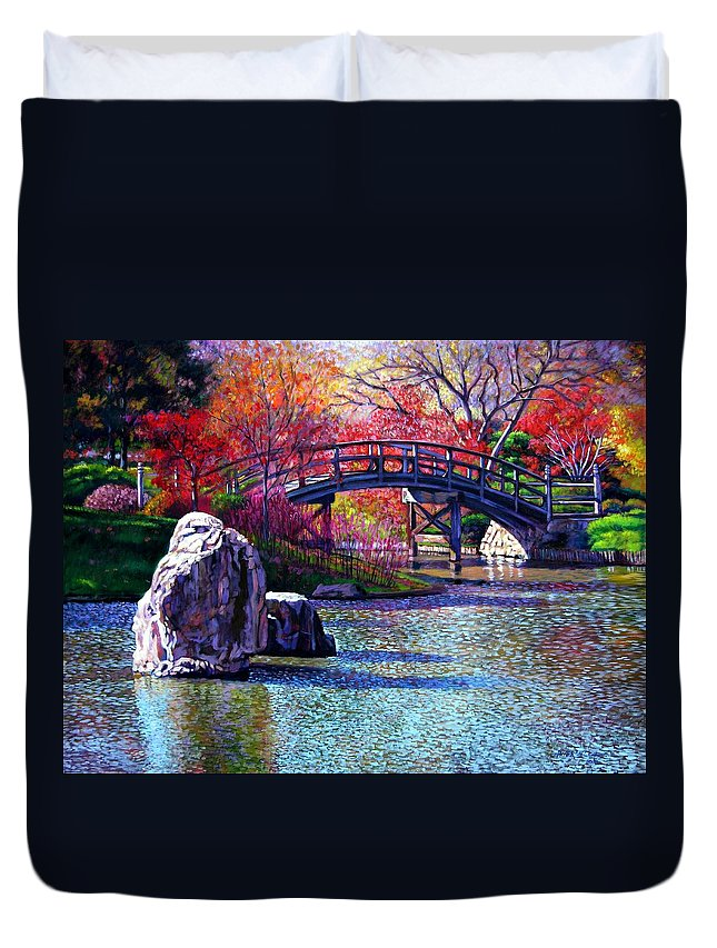 Garden Duvet Cover featuring the painting Fall In The Garden by John Lautermilch