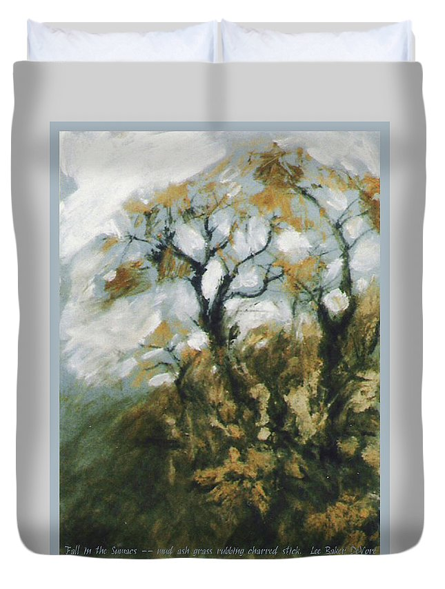 Landscape Duvet Cover featuring the mixed media Fall In The Sumacs by Lee Baker DeVore