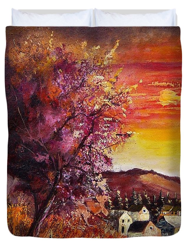 Autumn Duvet Cover featuring the painting Fall In Villers by Pol Ledent