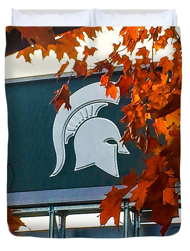 Msu Duvet Cover featuring the photograph Fall Is Football by Joseph Yarbrough