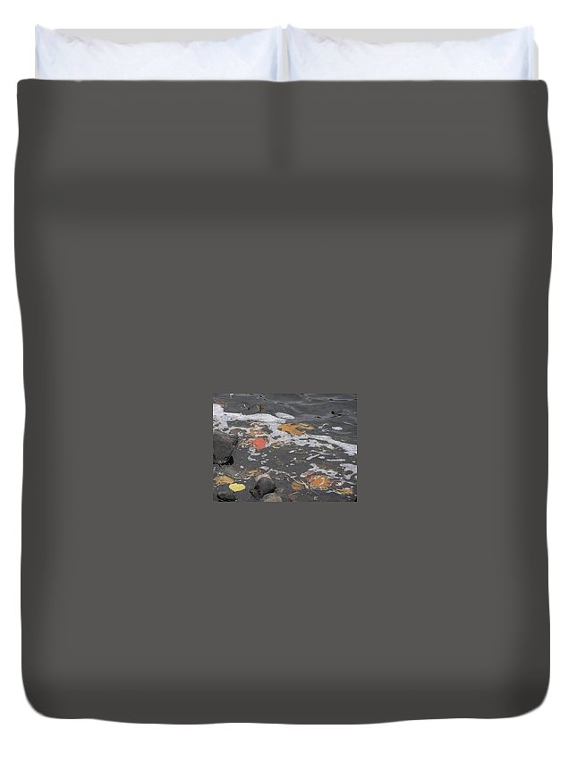Leaves Duvet Cover featuring the photograph Fall Leaves Floating On The River by Alice Markham