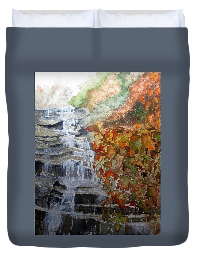 Water Fall Duvet Cover featuring the painting Fall Leaves by Julia Rietz