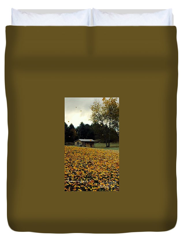 On The Back Rd. Duvet Cover featuring the photograph Fall Leaves - No. 2015 by Joe Finney
