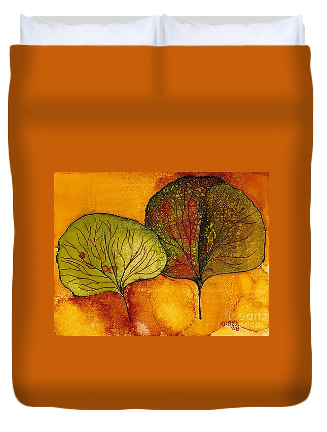 Leaf Duvet Cover featuring the painting Fall Leaves by Susan Kubes