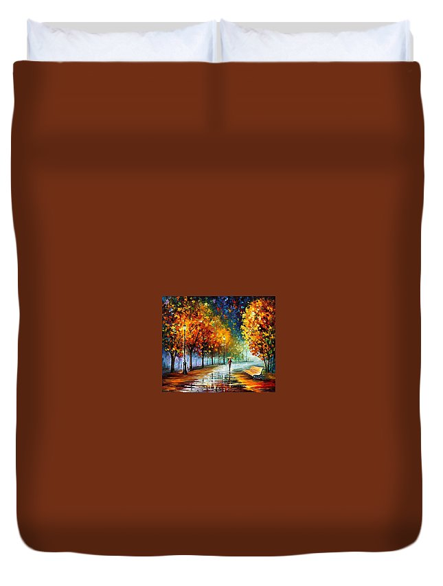 Afremov Duvet Cover featuring the painting Fall Marathon by Leonid Afremov