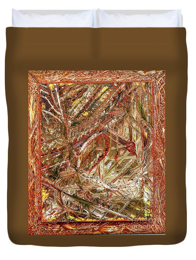 Abstract Contemporary Duvet Cover featuring the painting Fall by Mary Shawn Newins