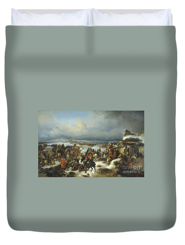 Fall Of Kolberg In 1761 Duvet Cover featuring the painting Fall Of Kolberg by Celestial Images