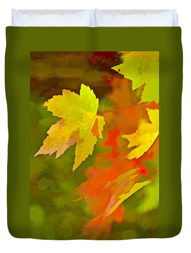 Fall Duvet Cover featuring the digital art Fall Of Leaf by Ches Black