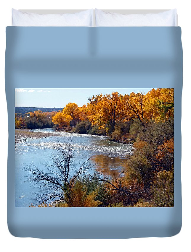 Animas River Fall Colorado Duvet Cover featuring the photograph Fall On Animas River by Howard Thompson