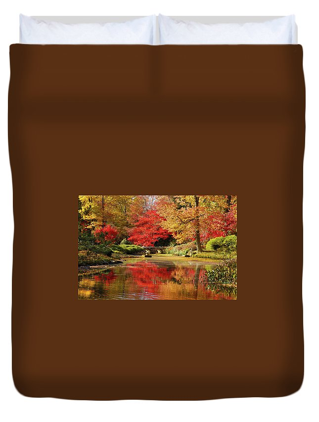 Fall Duvet Cover featuring the photograph Fall On Fire by Linda Eszenyi