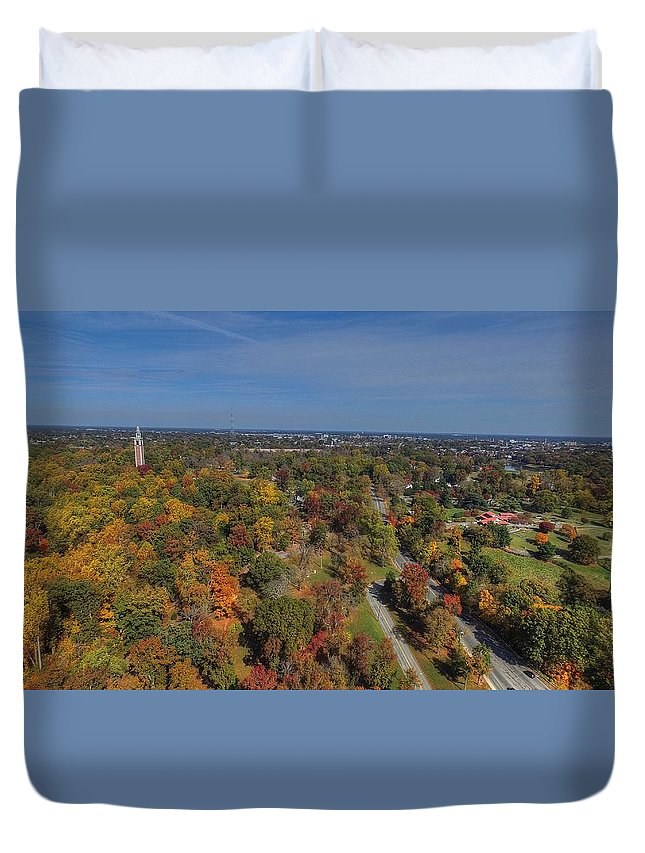 Richmond Duvet Cover featuring the photograph Fall Over Richmond by Tredegar DroneWorks
