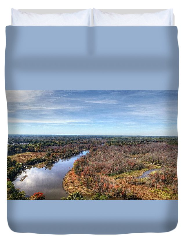 Colonial Heights Duvet Cover featuring the photograph Fall Over Swift Creek by Tredegar DroneWorks