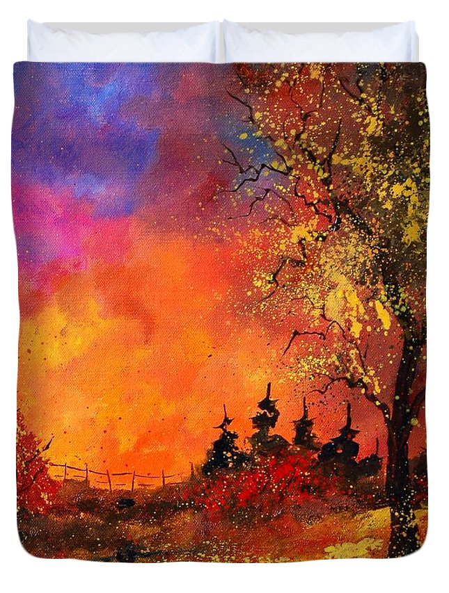 River Duvet Cover featuring the painting Fall by Pol Ledent