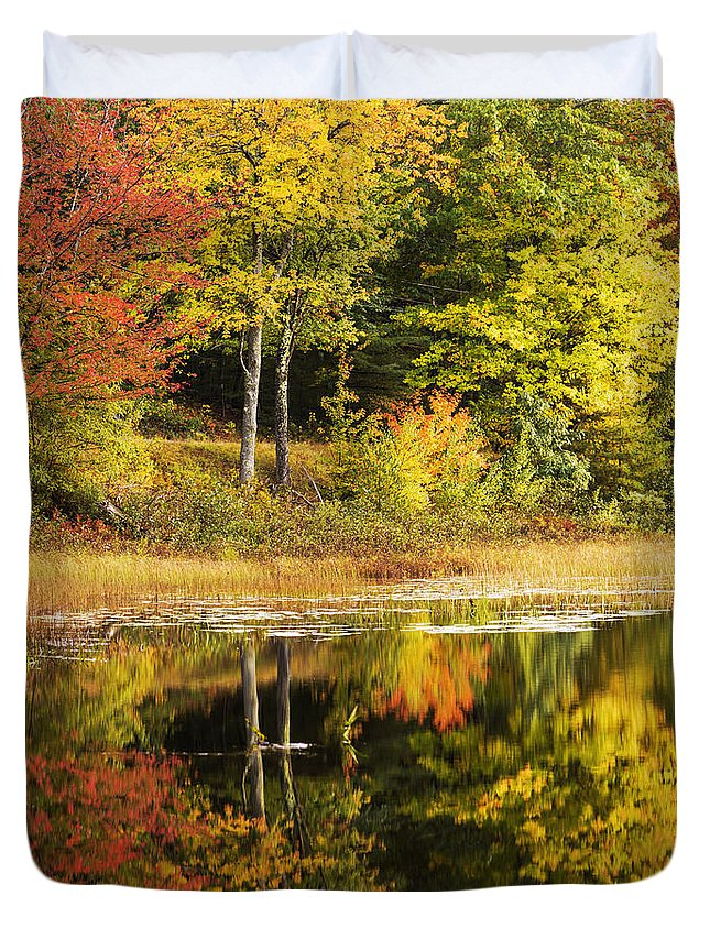 Fall Reflection Duvet Cover featuring the photograph Fall Reflection by Chad Dutson