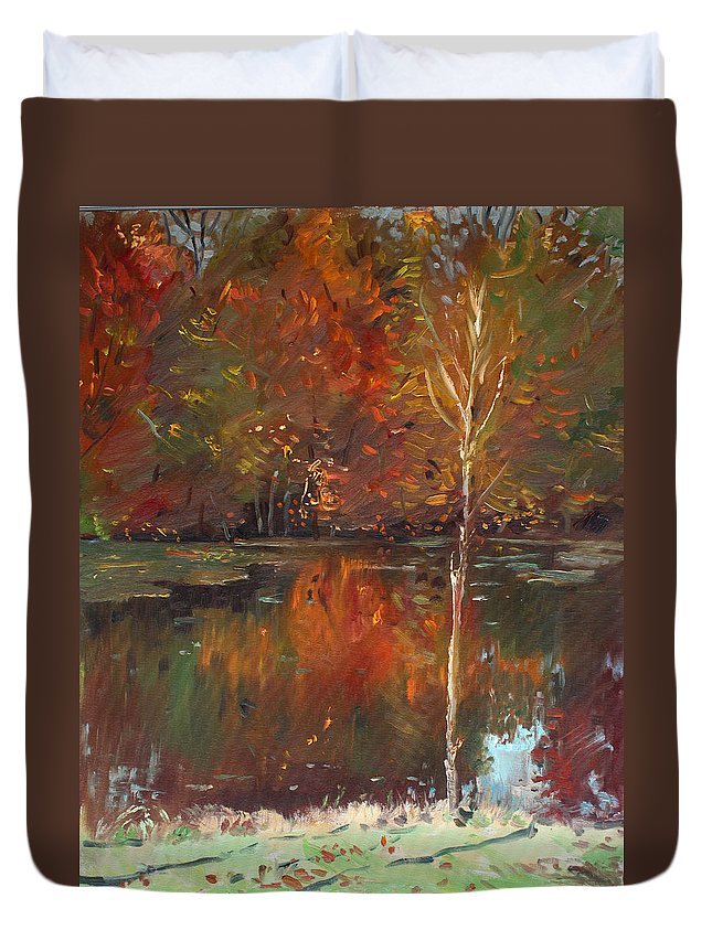 Landscape Duvet Cover featuring the painting Fall Reflection by Ylli Haruni