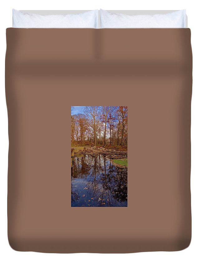 Fall Duvet Cover featuring the photograph Fall Reflections by Deb Rassel