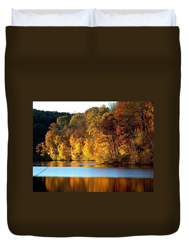 Trees Duvet Cover featuring the photograph Fall Reflections Of Indiana by Carol Milisen