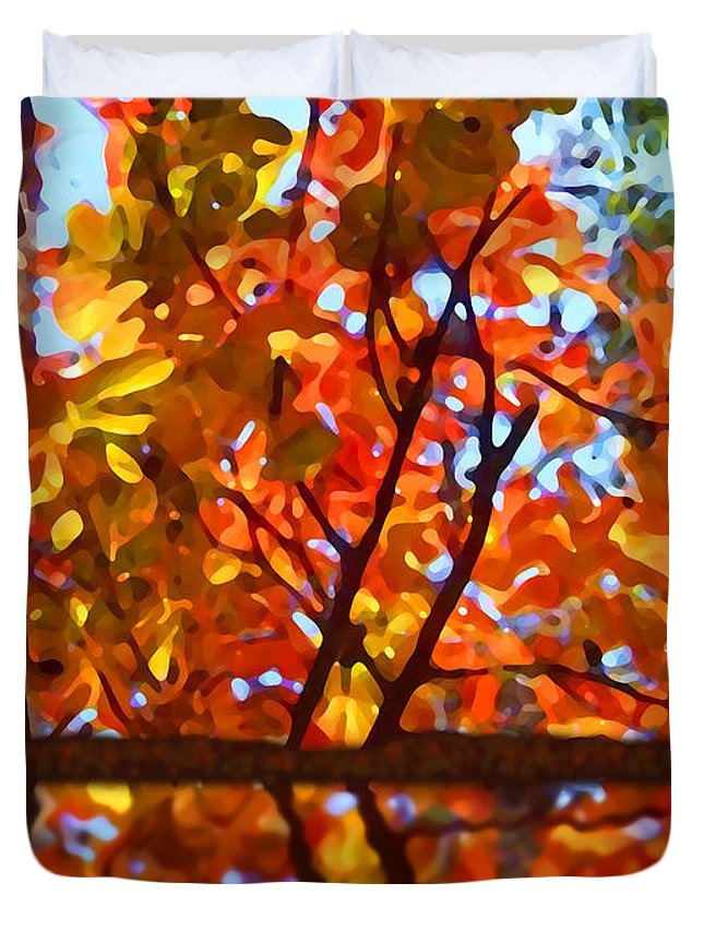 Trees Duvet Cover featuring the painting Fall Reflextion by Amy Vangsgard