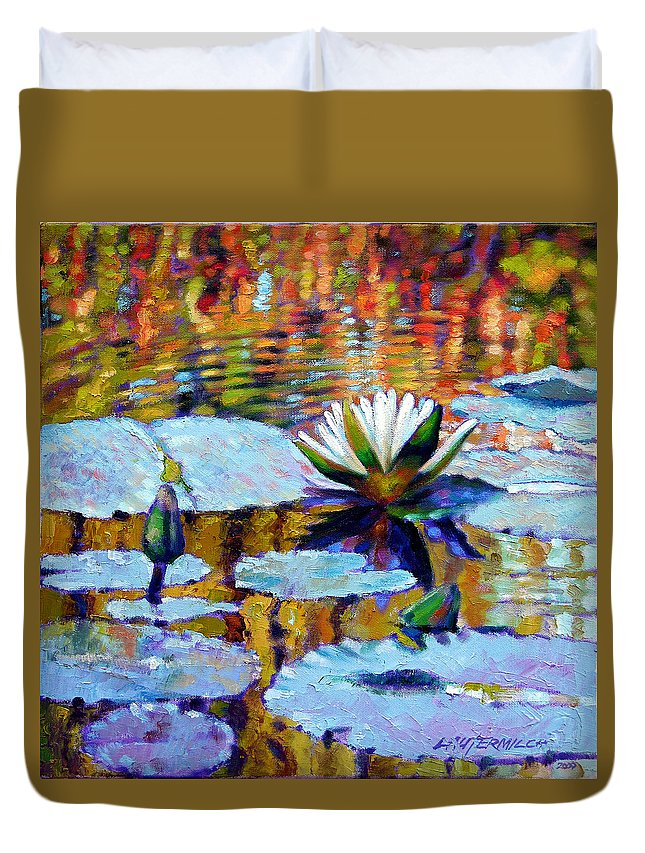 Fall Duvet Cover featuring the painting Fall Ripples by John Lautermilch