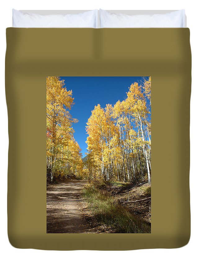 Landscape Duvet Cover featuring the photograph Fall Road by Jerry McElroy