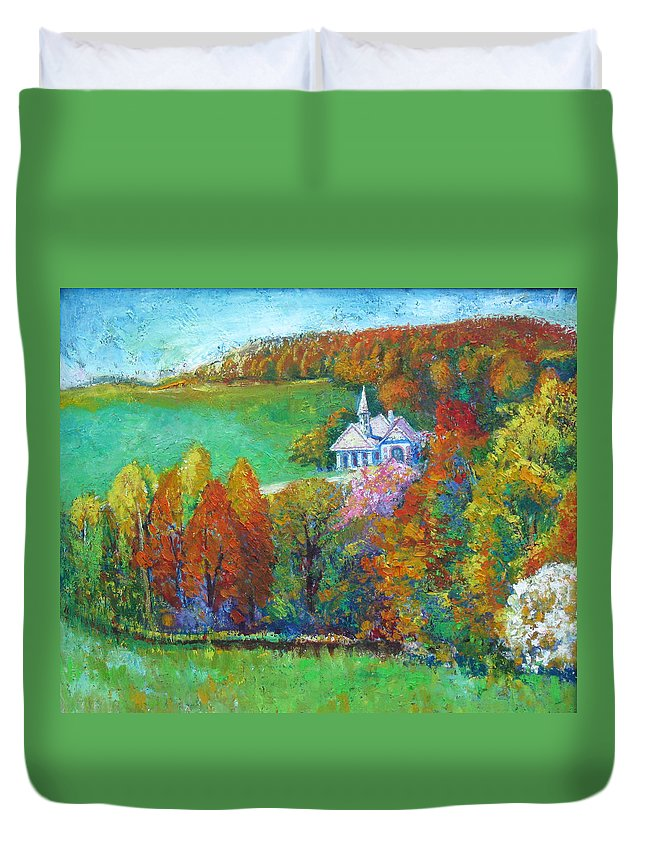 Fall Duvet Cover featuring the painting Fall Scene by Meihua Lu