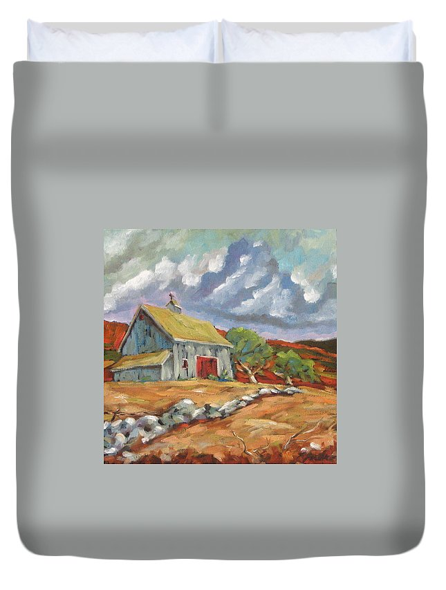 Farm Duvet Cover featuring the painting Fall Scene by Richard T Pranke
