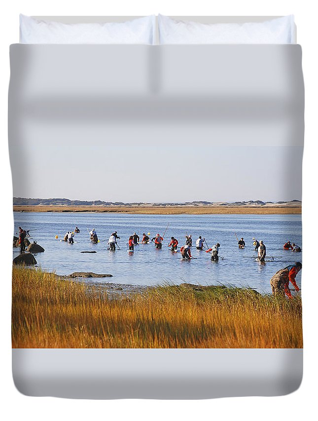 Barnstable Duvet Cover featuring the photograph Fall Shellfishing by Charles Harden