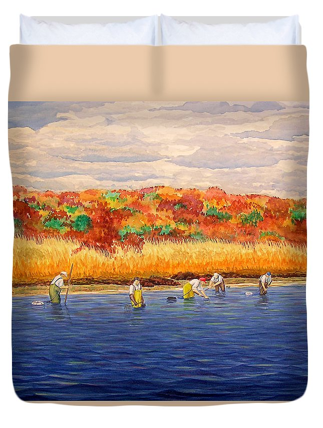 Watercolor Duvet Cover featuring the painting Fall Shellfishing In New England by Charles Harden