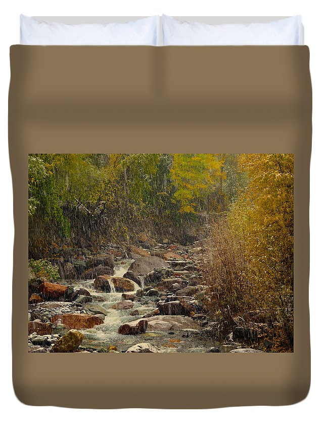 Fall Duvet Cover featuring the photograph Fall Snow Storm by Laura Ragland