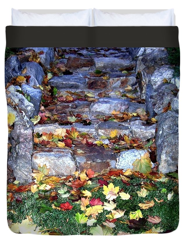 Rock Stairway Duvet Cover featuring the photograph Fall Stairway by Will Borden