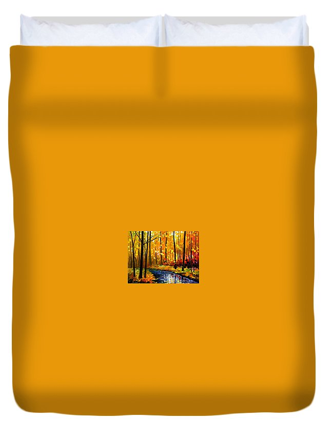 Afremov Duvet Cover featuring the painting Fall Stream by Leonid Afremov