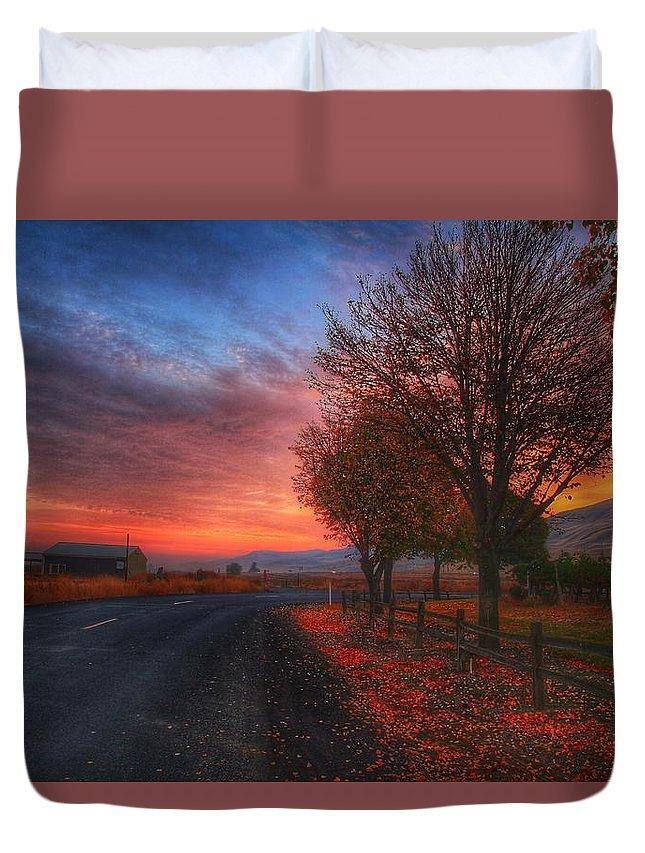 Fall Sunrise Duvet Cover featuring the photograph Fall Sunrise by Lynn Hopwood
