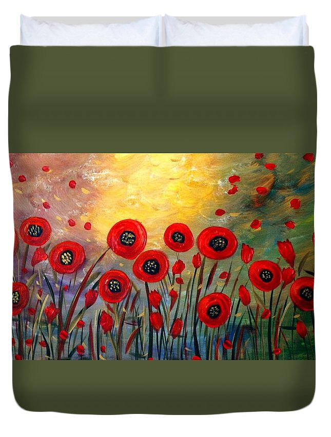 Flowers Duvet Cover featuring the painting Fall Time Poppies by Luiza Vizoli