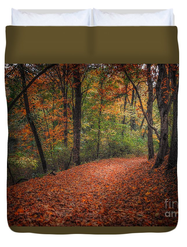 Landscape Duvet Cover featuring the photograph Fall Trail by Larry McMahon