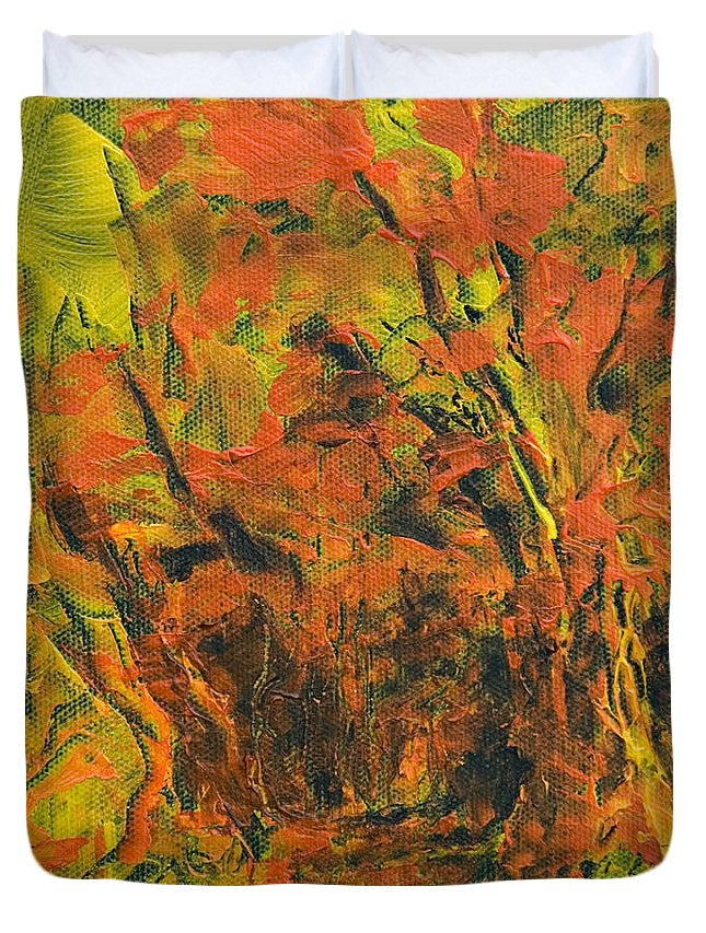 Forest Duvet Cover featuring the painting Fall View by Jacqueline Milner