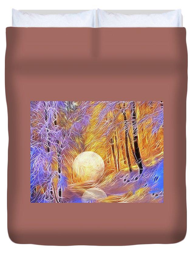 Landscape Duvet Cover featuring the digital art Falled Moon by Ombretta Lanari