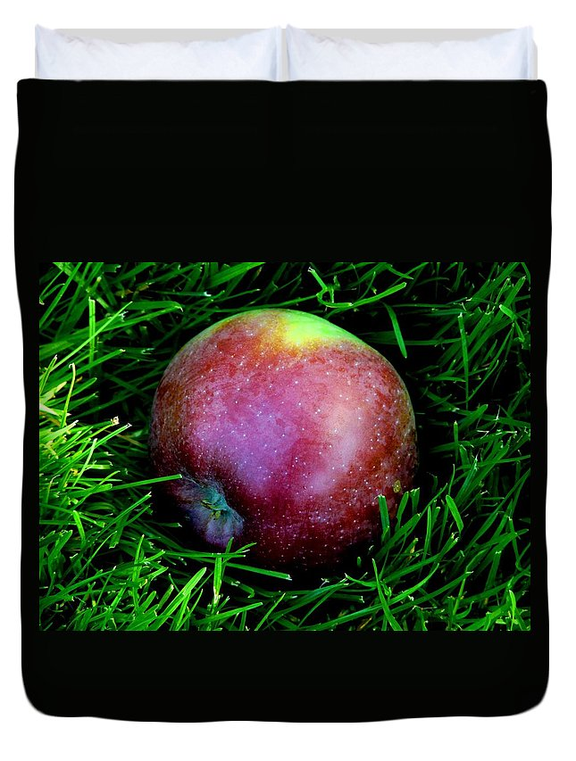 Apple Duvet Cover featuring the photograph Fallen Apple by Valerie Ornstein