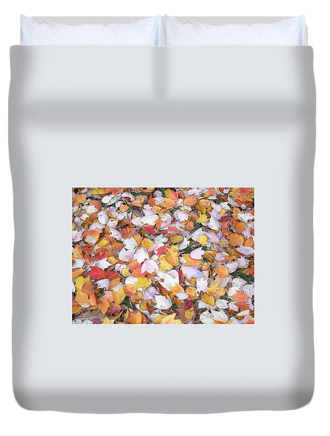 Photography Fall Autum Leaves Duvet Cover featuring the photograph Fallen Fantasy by Karin Dawn Kelshall- Best