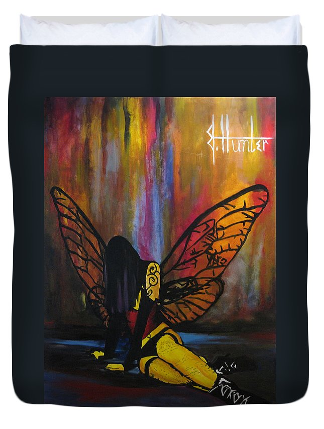 Fairy Duvet Cover featuring the painting Fallen by Jeff Hunter