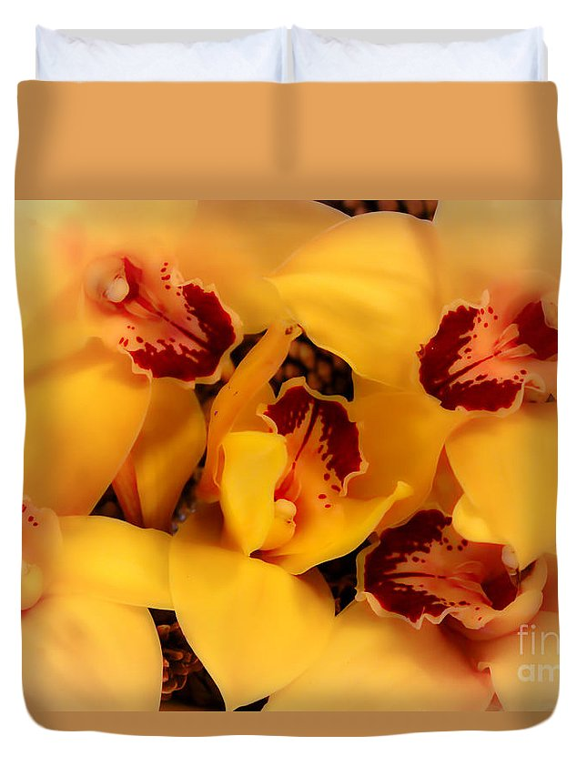 Orchid Duvet Cover featuring the photograph Fallen Orchids by Mesa Teresita