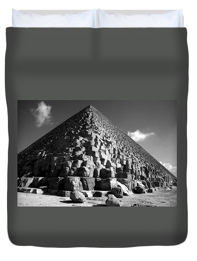 Fallen Stones Duvet Cover featuring the photograph Fallen Stones At The Pyramid by Donna Corless