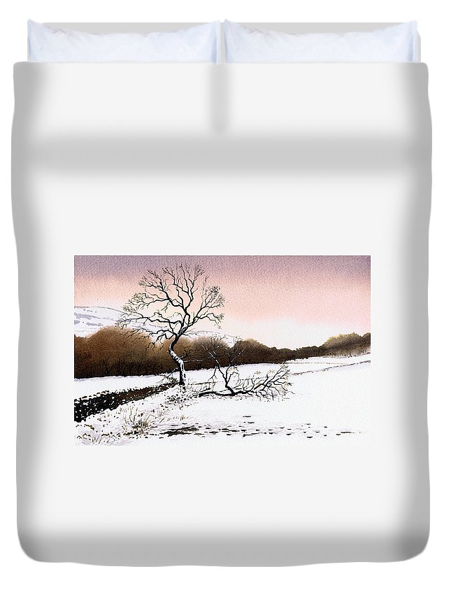 Winter Duvet Cover featuring the painting Fallen Tree Stainland by Paul Dene Marlor