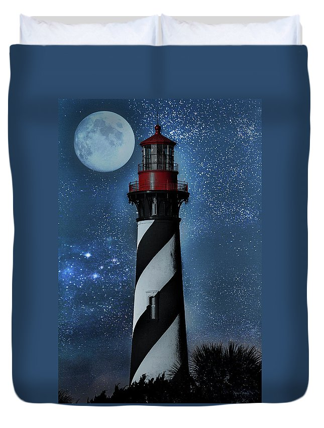 Fantasy Duvet Cover featuring the photograph Falling For You St Augustine Lighthouse by Betsy Knapp