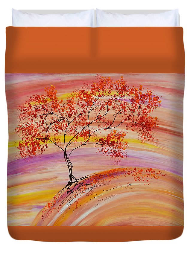 Tree Duvet Cover featuring the painting Falling On A Hill by Laura Lecce