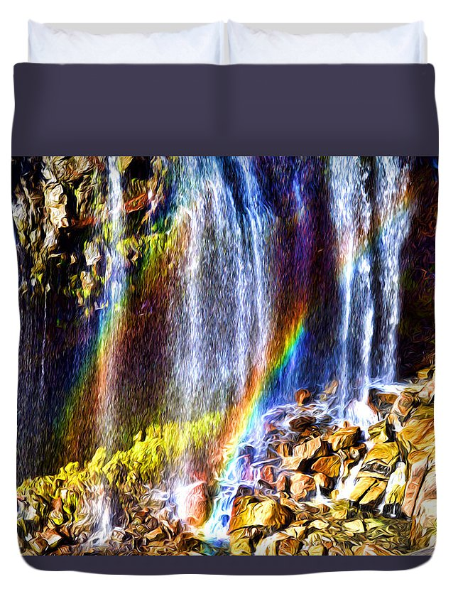 Mount Rainier Duvet Cover featuring the photograph Falling Rainbows by Anthony Baatz