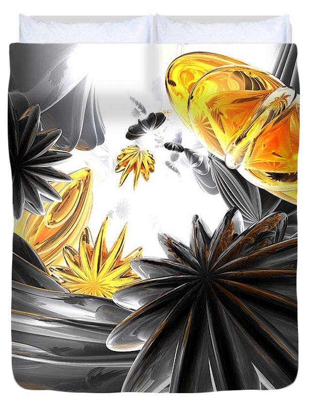 3d Duvet Cover featuring the digital art Falling Stars Abstract by Alexander Butler