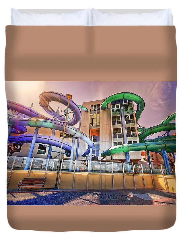 Waterslide Duvet Cover featuring the photograph Fallopian Adventure by Wayne Sherriff