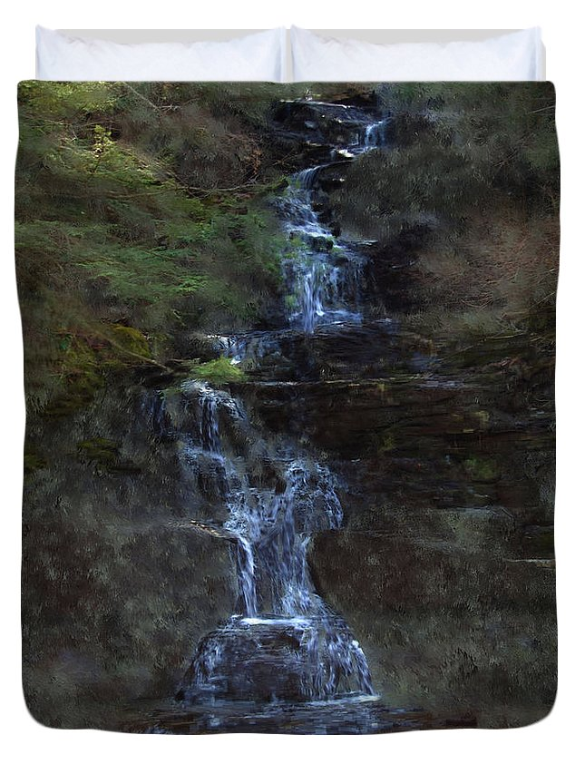 Duvet Cover featuring the photograph Falls At 6 Mile Creek Ithaca N.y. by David Lane