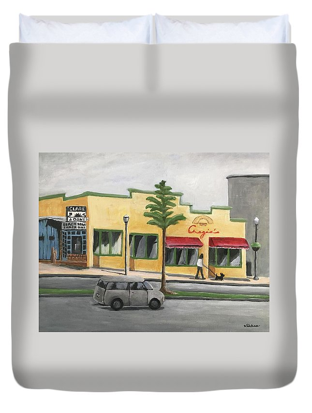 Falls Church Duvet Cover featuring the painting Falls Church by Victoria Lakes