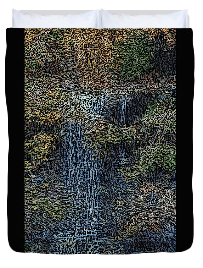 Digital Photography Duvet Cover featuring the photograph Falls Woodcut by David Lane